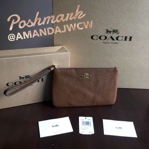 Coach Large Wristlet Wallet in Saddle Brown